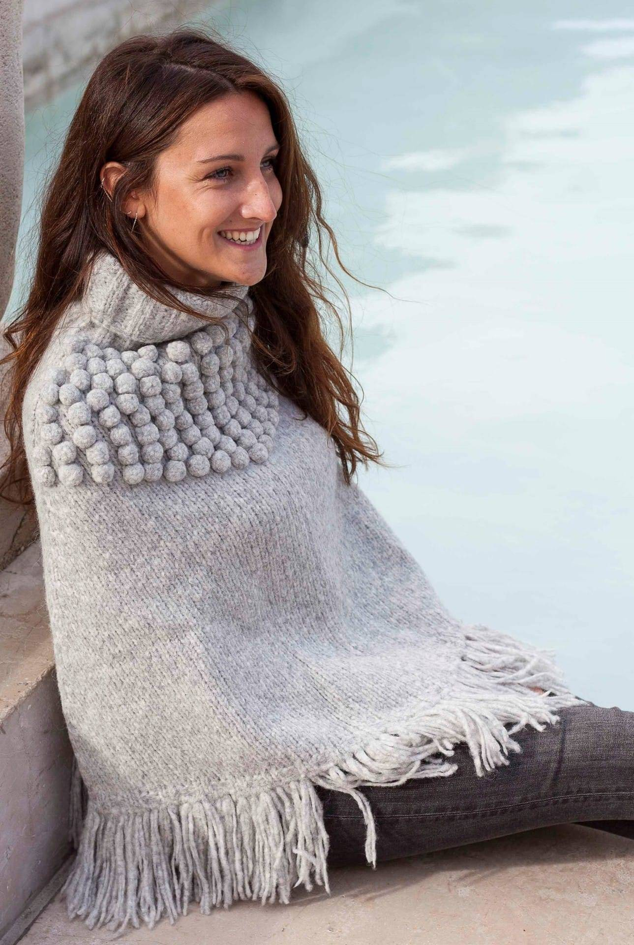 Poncho andes gris